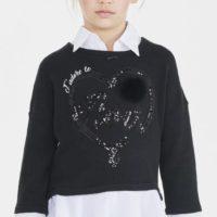 Elsy maglia cuore con camicia colore nero per ragazza