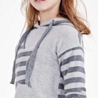Elsy felpa capp stella lurex colore grigio per ragazza