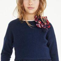 Elsy maglia lana frange colore blu per ragazza